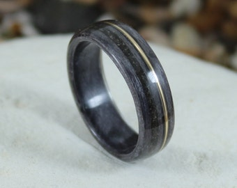 Grey Maple Wood Ring with Meteorite and Gold, Mens Wood Ring, Wood Rings, Wood Engagement Ring, Wood Wedding Band, Meteorite Ring,