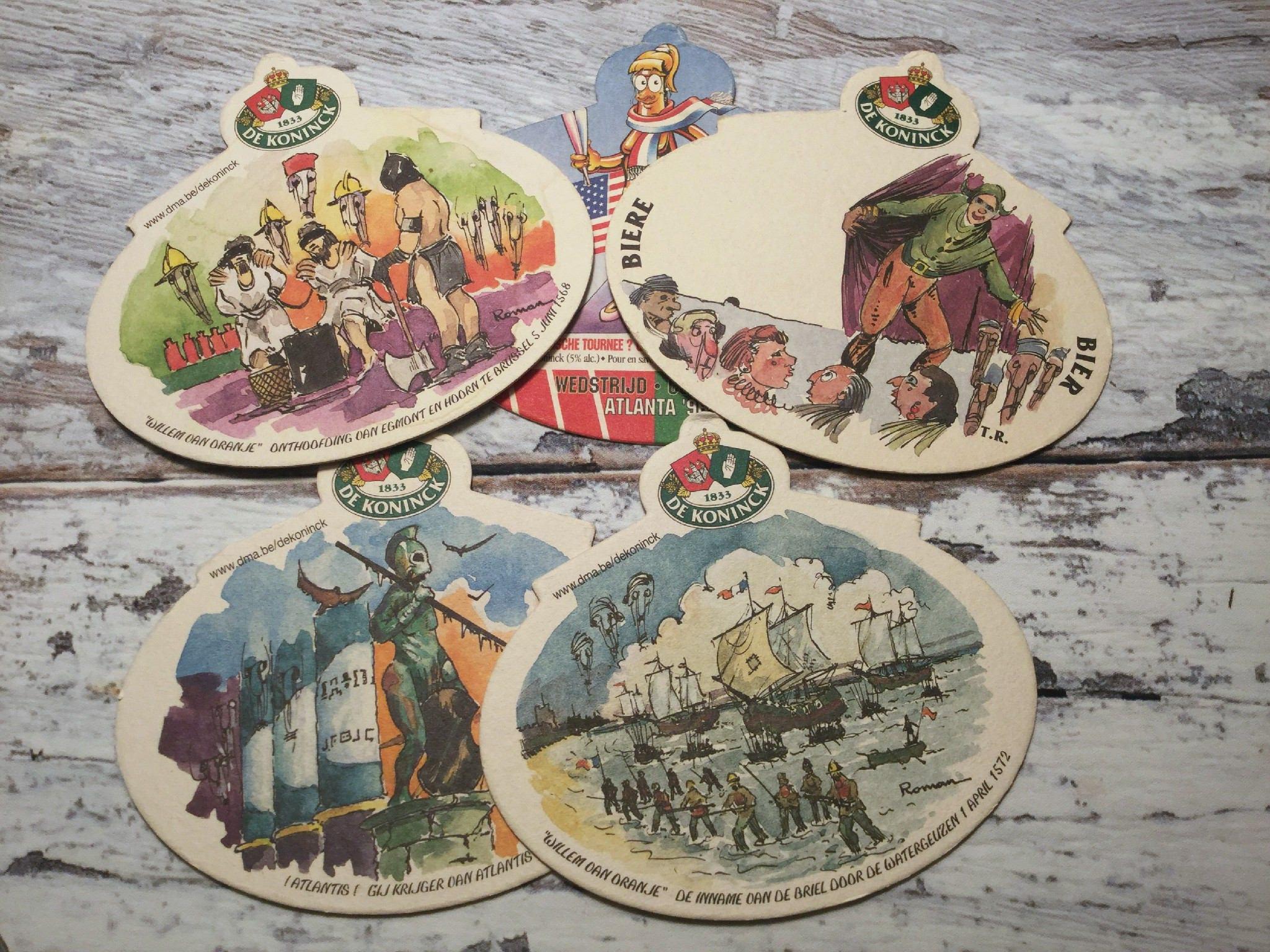 Belgian beer coasters de koninck vintage cardboard beermat - Cardboard beer coasters ...