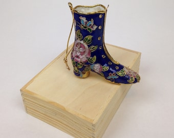 """1990s - BLUE Metal VICTORIAN Era BOOT Ornament - w/Gold Accents, Pink/Purple Roses & Multi-Colored Butterfly - 3"""""""