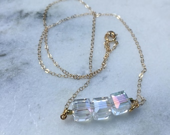 Minimal Cube Crystal necklace on Goldfill Chain