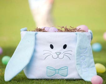 Blue Monogrammed Easter Bunny Basket | Boys Monogrammed Easter Basket | Bunny with ears | Easter basket with ears