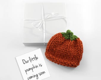 October Grandparent Pregnancy Announcement, Baby Hat Pumpkin, Halloween Newborn Hat