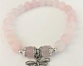 Dragonfly and Rose Quartz Bracelet