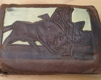Leather wallet vintage brown