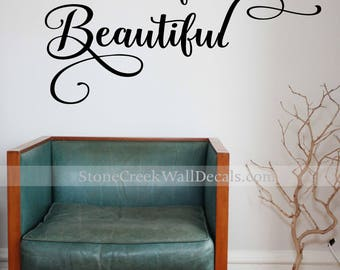 beautiful wall decal be your own kind of beautiful wall decal teen wall decal bathroom wall - Bathroom Wall Decals