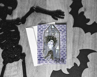 Edward Scissorhands Card - Tim Burton Cult Classic - Dark Humor - Sarcastic Greeting Card