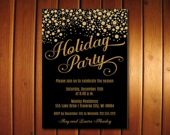 Confetti Christmas Invitations  | Holiday Invitation | Black and Gold Christmas Party Invites