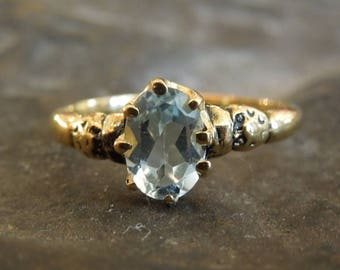 Victorian Style Oval Blue Topaz Ring - Vermeil (Gold & Sterling Silver)