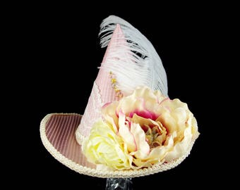 Pink and Cream Flower and Plume Steampunk Mini Witch Hat, Halloween, Festival Hat, Derby Hat