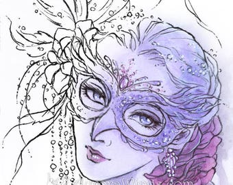 Digital Stamp - Masquerade Owl Mask - Instant Download - Woman in Mask, Beads, Roses -Line Art for Cards & Crafts by Mitzi Sato-Wiuff