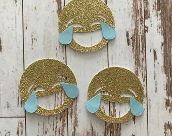 Glitter Emoji 12pcs Die Cut/Party Decorations/Embellishment/Table Scatter/Gift Tags - Tears of Joy