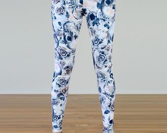 Pastel Grunge Rose and Skull Printed Leggings - S/M/L/XL