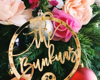 "Custom Christmas Ornament 2018 , 1x Laser Cut Acrylic Holiday Ornament 3.75"" - Christmas Gift Idea, Personalized Ornament"