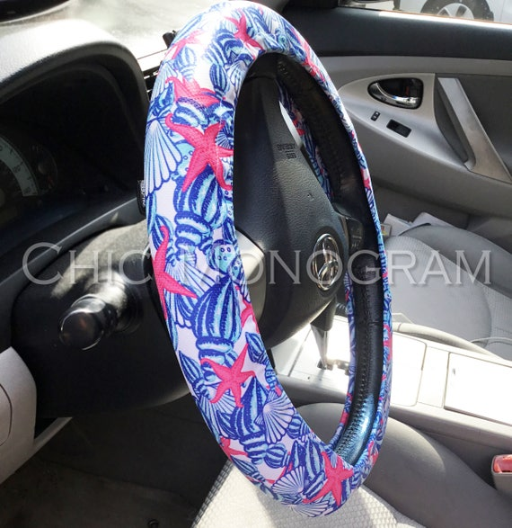 Steering Wheel Cover Padded Insulated Monogrammed Lilly Inspired Steering Wheel Cover Cute Car Accessories For Women Swirling Sea Shells