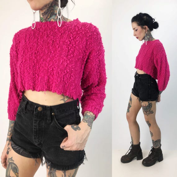 80's Hot Pink Cropped Knit Sweater Small - Frayed Hem Crop Top Everyday Sweater - Soft Acrylic Knit Top Cropped Long Sleeve Shirt Neon Pink