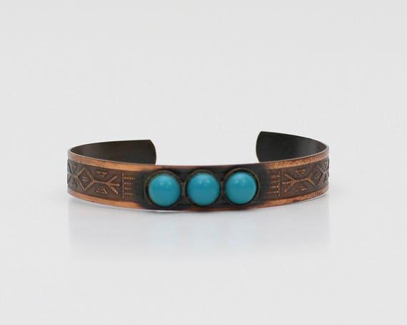 Southwestern Copper Cuff Bracelet - Vintage 1960s Turquoise Bangle