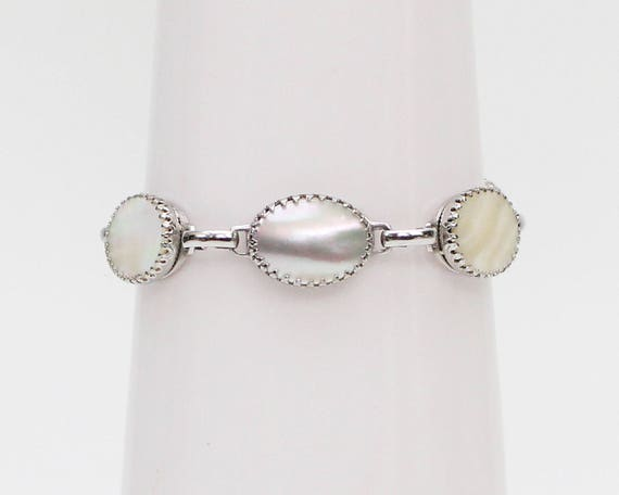 Vintage 1970s Whiting and Davis Mother of Pearl Bracelet
