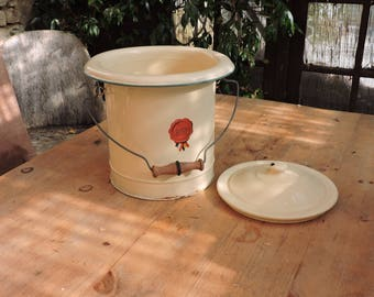Vintage Enamelware Stock Pot - Large French Stove Top Casserole -Enamel Bin With Lid - French Country Kitchen Bucket