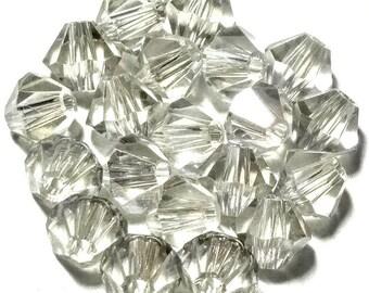 CRYSTAL SILVER SHADE 20 Swarovski Crystal Beads Bicone Xilion 5301 5328 4mm