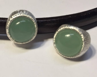 1 Green Adventurine Gemstone Silver Slider for Licorice Leather, Silver Zamak Base