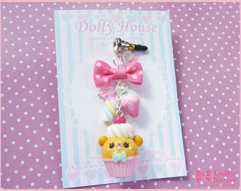 Kawaii dust plug with charm - Sweet cupcake bear with candies -  by Dolly House