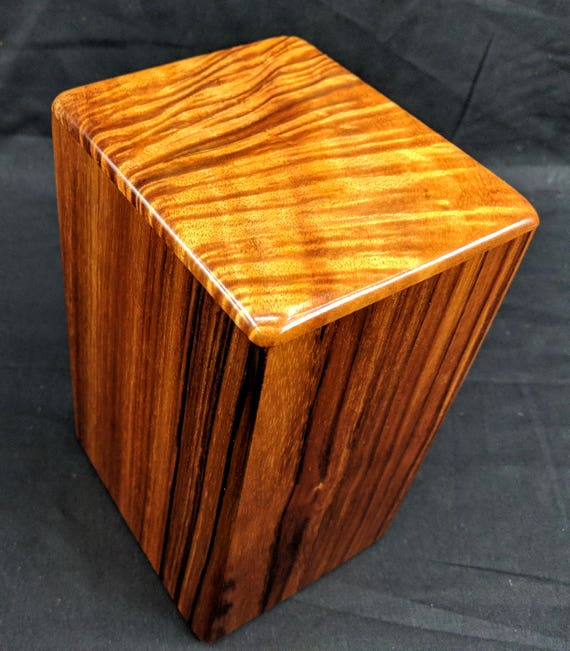 "Curly Hawaiian Koa Medium Size Memorial Cremation Urn...5 3/4"" x 5"" x 9"" ..Constant Supply On Hand Wooden Cremation Urn MK021918-B"