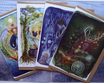 Celtic Shaman ~ pack of 4 A5 Art Cards