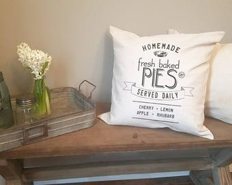 fresh baked pies farmhouse pillow. rustic decor. farmhouse decor. accent pillow.