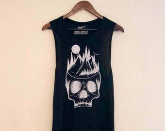 Growing Skull (Women's) Flowy Scoop Muscle Tank