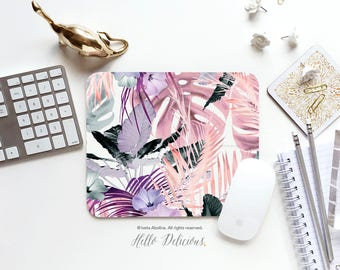 Tropical Leaves Mouse Pad Leaf Mousepad Floral Mouse Pad Office Mousemat Rectangular Mousemat Modern Mousepad Round 68.