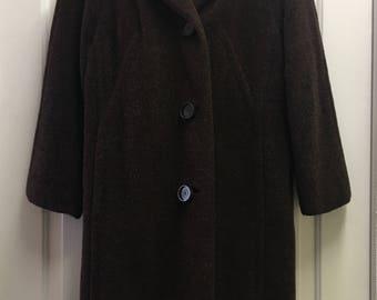 Stunning Thick Vintage Llama Fleece 60s Coat / Winter Coat / Medium