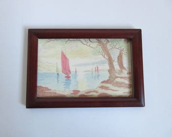 antique original painting / drawing, seascape, framed and signed