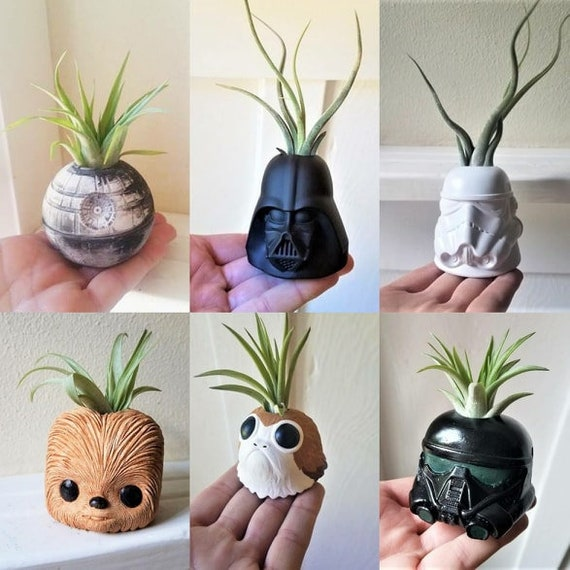 Star Wars inspired plant holder collection, star wars gift set, Porg, Chewbacca, Darth Vader, Storm Trooper, Death Star