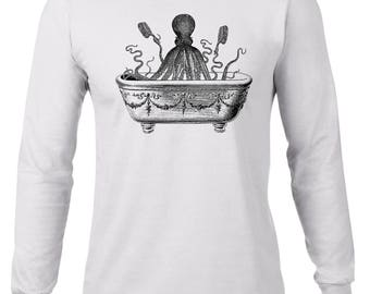 Long Sleeve Shirt, Octopus Tshirt, Funny T Shirt, Octopus Taking A Bath, Ocean Animal Tee, Ringspun Cotton, Mens Plus Size