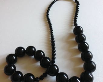 Necklace - long black necklace retro design with gorgeous round black plastic beads smaller beads around neck