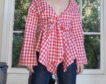 Red Picnic Wrap Top