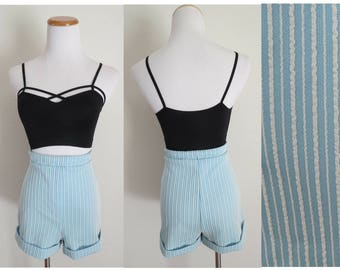1960s Shorts Blue High Waisted Short Pastel Striped 1960s Mod Size Medium Large Stretchy High Rise 1970s 70s Campus Casuals