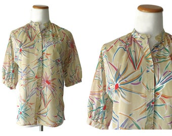 70s Sheer Blouse Firework Print Top Button Up Shirt 1970s Colorful Novelty Top Size Medium Large M L Boho Hippie Indie Hipster