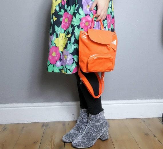 PVC backpack purse / neon orange 90s rucksack / 90s cyber backpack / mini back purse / 90s plastic mini backpack / orange purse / clueless