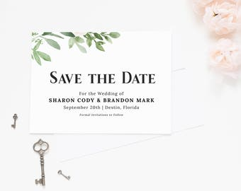 Greenery Save the Date Cards, Floral Save the Date Invitation, Save the Date Printable,  Save the Date Postcard Template, sd010