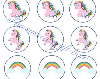 Instant download Bottle cap images Rainbow Unicorns x 15, 1 Inch circles Digital Pictures