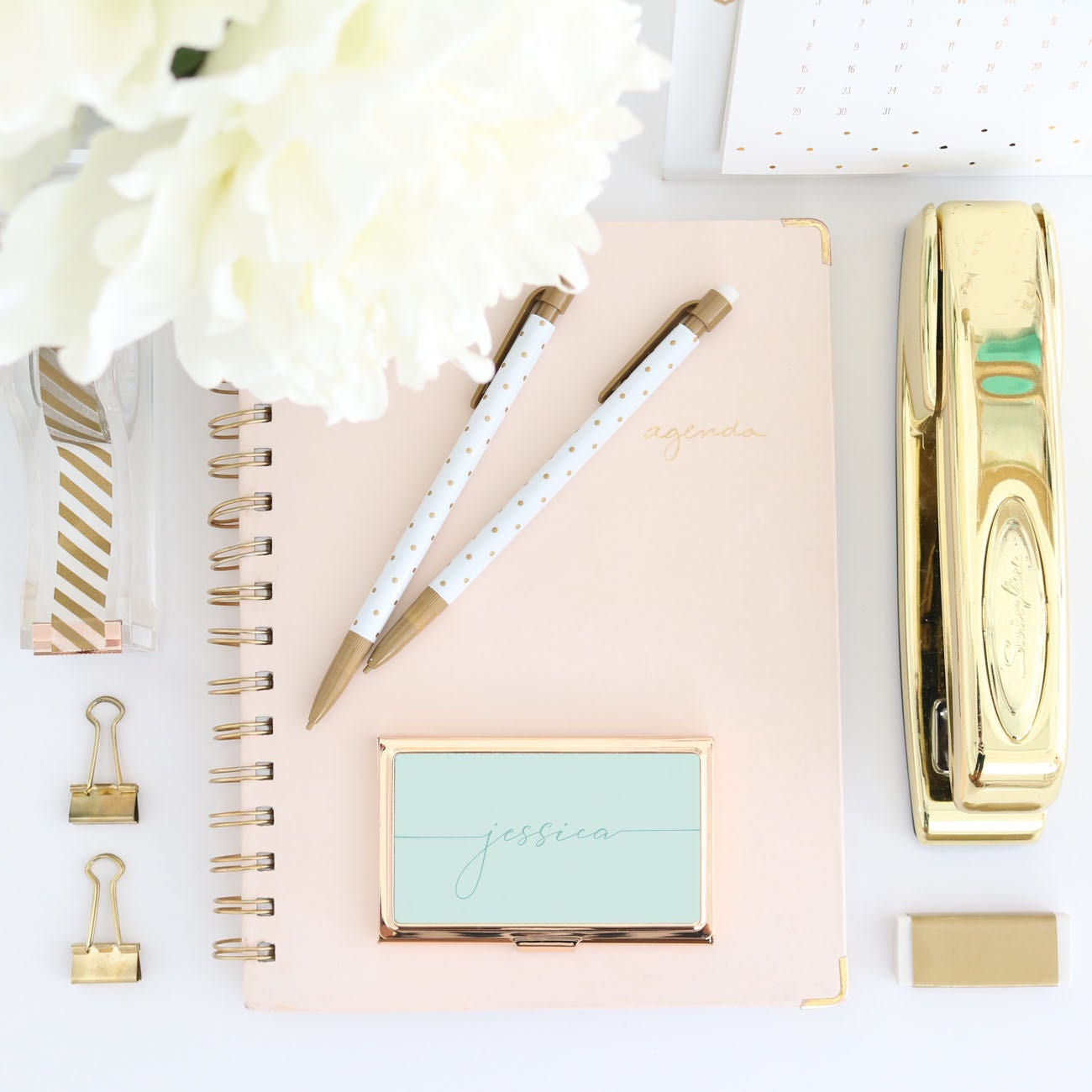 Gold Business Card Holder -Thin Handwritten Script Pink Personalized ...