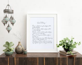 Apache Blessing wedding reading in handwritten calligraphy - popular wedding poem - Apache poem - native American blessing