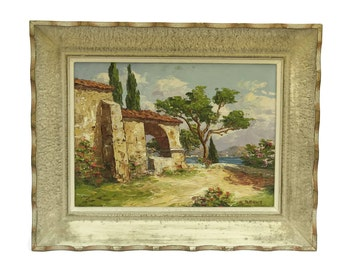French Cote d'Azur Oil Painting in Frame. Mediterranean Decor. Provence France Original Art.