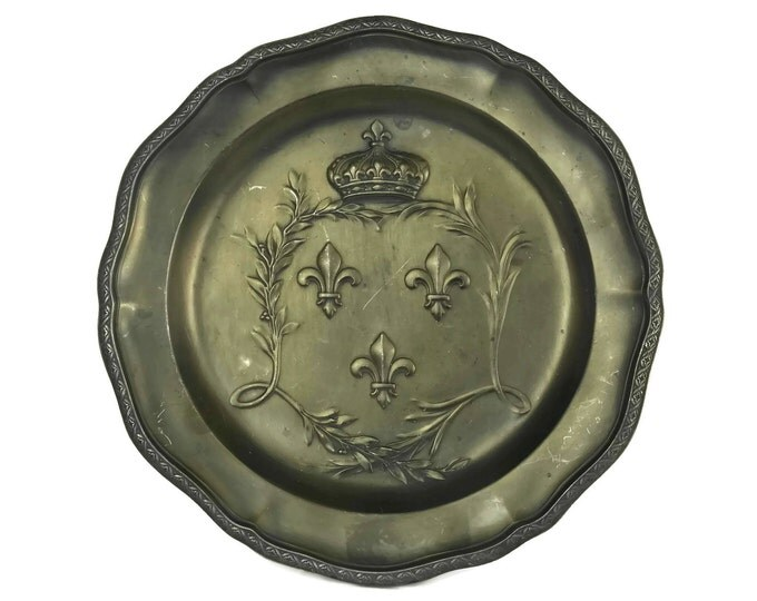 Vintage French Fleur de Lys and Crown Pewter Plate.