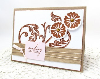 Sending Smiles - Brown and Ivory - Brown Flowers - Neutral Colors - Burlap Ribbon -  Rustic Style - Blank Card - Soft Pink Accent - Textures