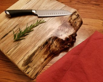 Live Edge Spalted Reclaimed Maple Cutting Board / Serving Tray - Salvaged - Silver - Gift - Wedding - Centerpiece - Mom