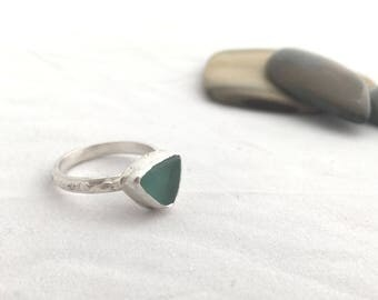 Beach Glass Ring, Size 5.5, Delicate Sterling Silver Ring, Beach Glass Jewelry