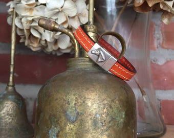 Beautiful Double Stitched Orange Leather Bracelet with Magnetic Horse Medallion