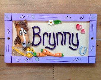 Horse Stable Stall Sign, Personalised Name Plaque for Horses and Donkeys, Ceramic plaque